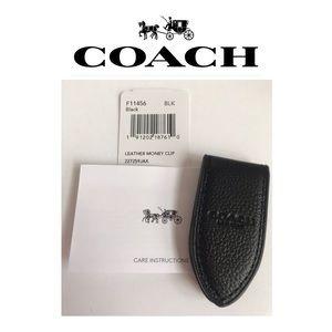 🆕💰 NWT Coach Black Leather Money Clip